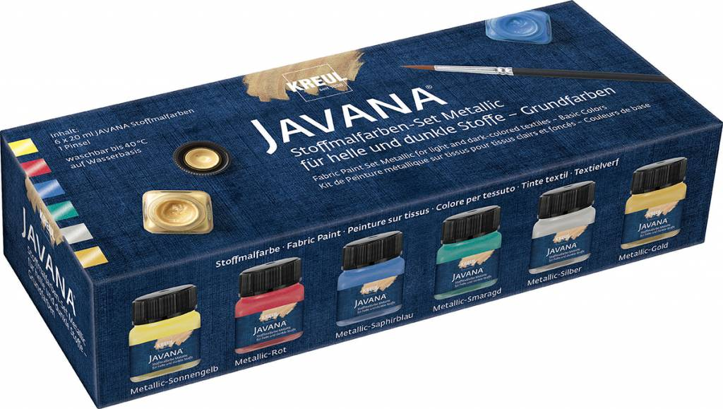 Sada barev na textil Javana 6x20ml Metalická