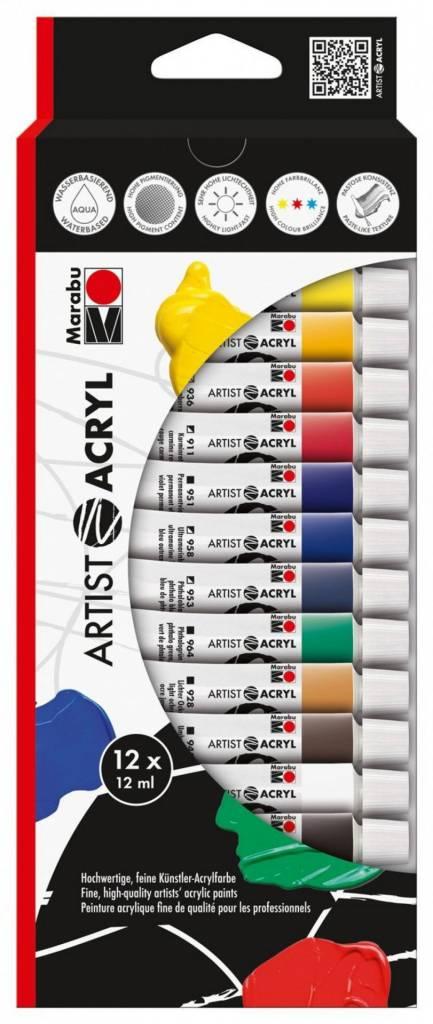 Akrylové barvy Artist Acryl 12x12ml