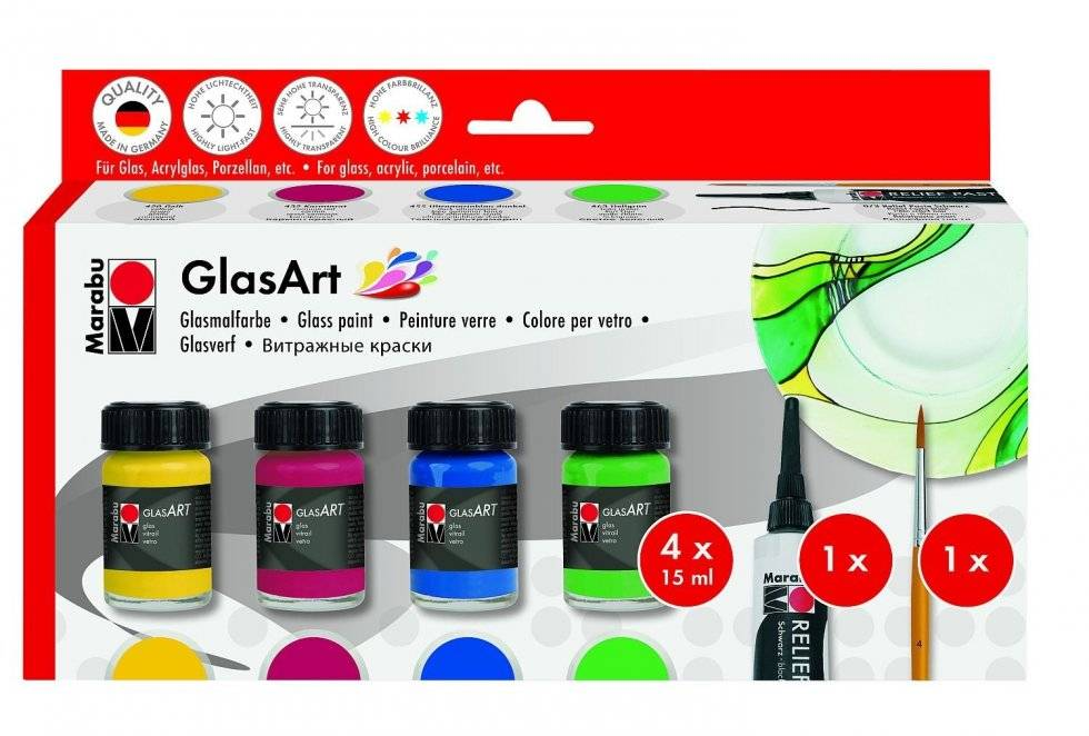 Barvy na sklo GlasArt 4x15ml