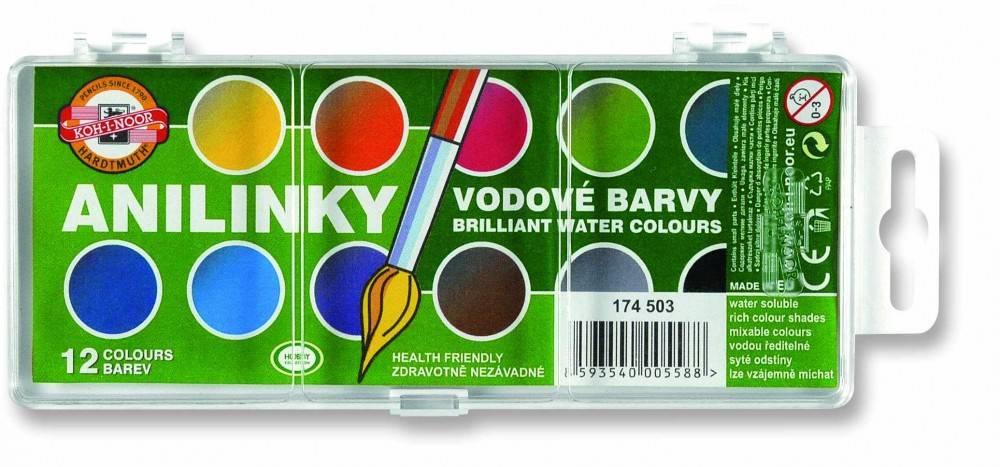 Vodové barvy Anilinky 12 barev