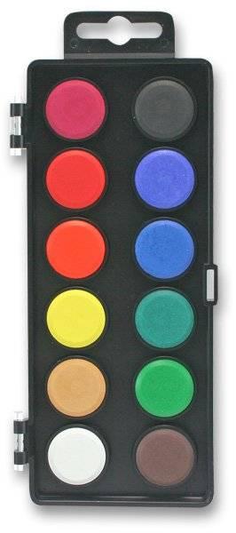Vodové barvy 12 barev - průměr 30mm