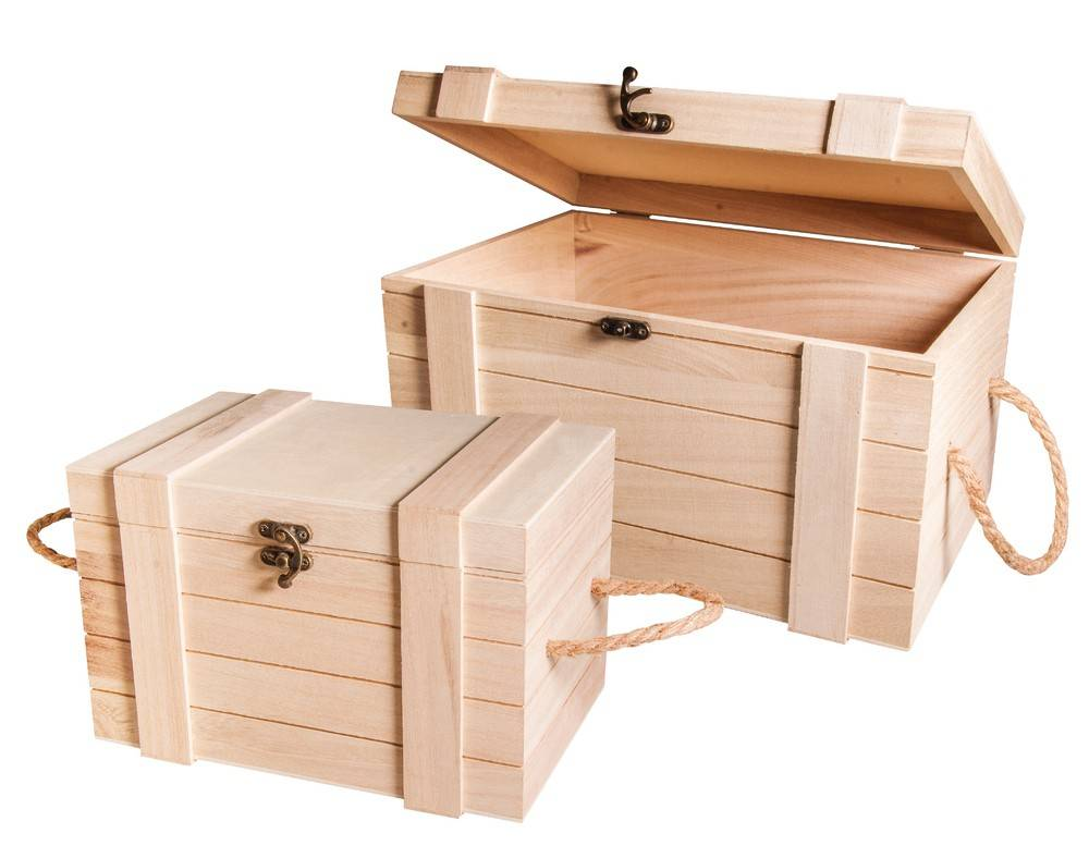 Dřevěná truhla námořnická velká Rayher