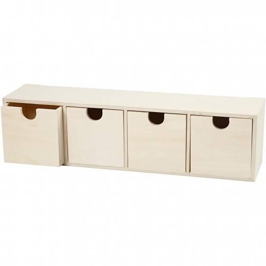 Dřevěný box 4 zásuvky