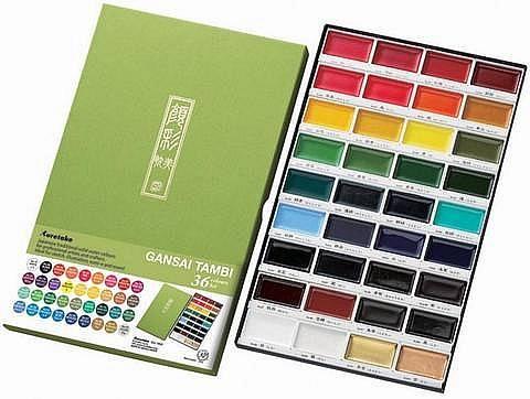 Akvarelové barvy Gansai Tambi - sada 36ks