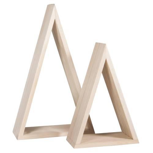 Dřevěný rámeček - trojúhelníky malé 2ks