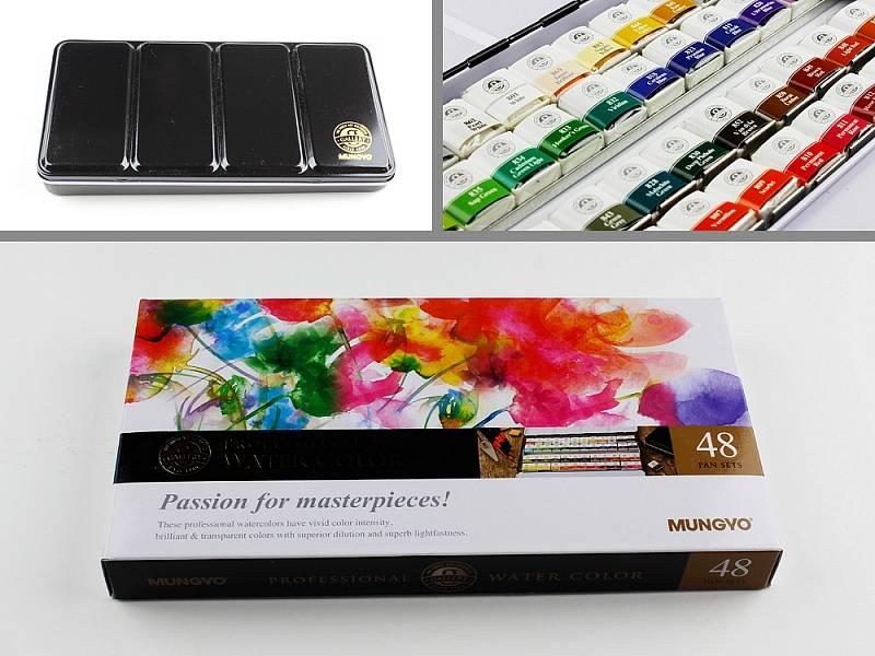 Profesionální akvarelové barvy 48ks