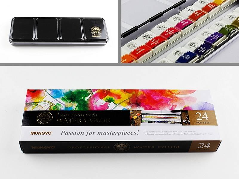 Profesionální akvarelové barvy 24ks