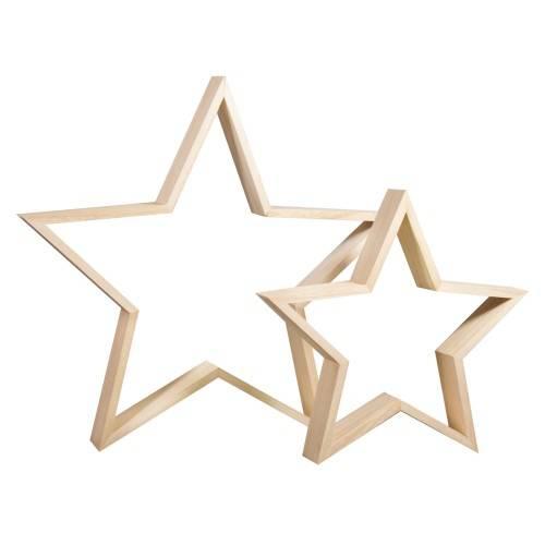 Dřevěný rámeček hvězda 2ks